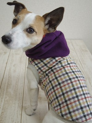 ¥3,456→2,700【S】Purple hoodie with plaid
