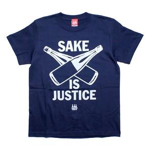 【SAKE Tシャツ】SAKE IS JUSTICE / ネイビー