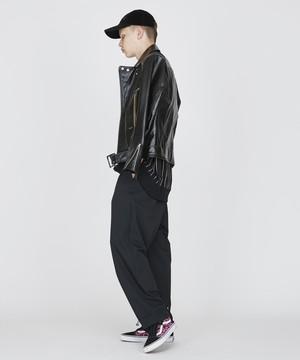 裾コードワイドテーパードパンツ(ブラック)