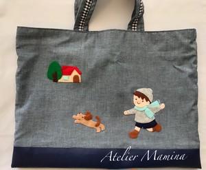特別販売:手縫いアップリケレッスンバッグ 「冬の男の子 」