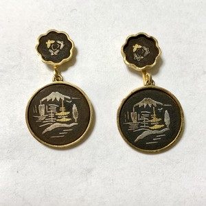 Vintage Mt.Fuji Damascene Earrings Made In Japan