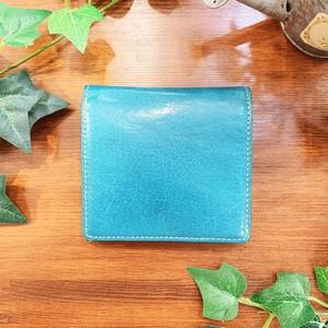 【水牛革】 ポップカラー二つ折り財布<4色展開> 軽い ユニセックス コンパクト BOX型コインケース M6643