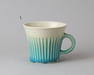 トルコ釉のマグカップ -しのぎ模様・青| 環窯