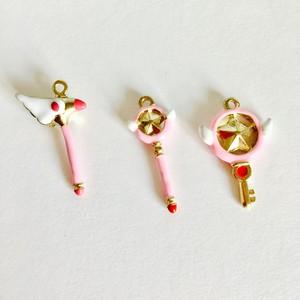 ピンク魔法杖チャーム✴︎2個セット