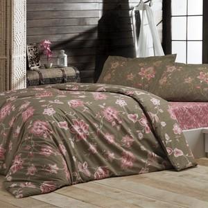 トルコ製 ダブル ベッドカバー 4点セット BLNY ブラウン