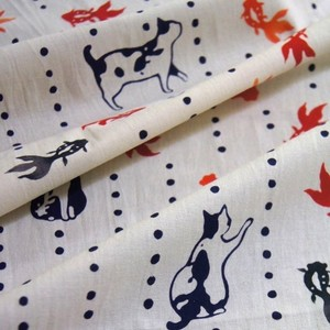 "tenugui (Japanese Towel) ""Cats and gold fishes"""