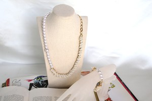PearlSmile silver ribbon necklace