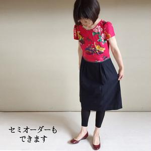 亀田縞 アジアン猫柄ワンピース kamedajima oriental dress (taipei-cat print)