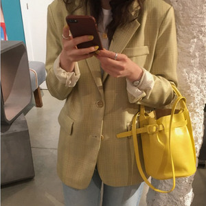 【アウター】チェック柄スーツ襟シングルブレストコート22695749