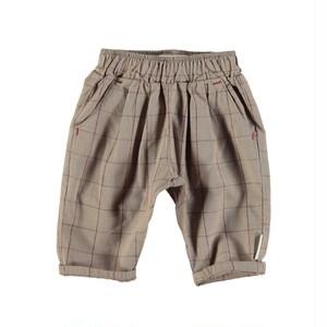 【piupiuchick】Unisex trousers | elastic waist taupe & garnet checkered (SS21.UN2102)