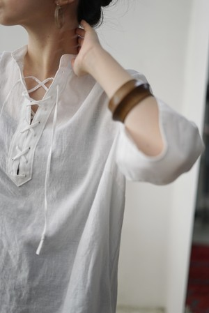 NOWOS /  laceup blouse(white)
