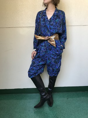 80s blue × black jumpsuits