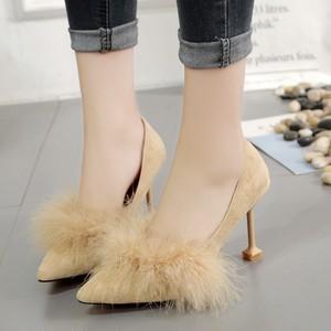 【シューズ】ファッション大人気フェイクファーハイヒールパンプス19654392
