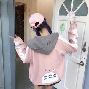 【アウター】ファッション原宿風キュートフード付き薄型ジャケット