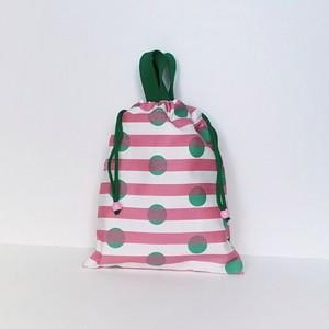お道具袋☆巾着(水玉×ボーダー・ピンク)