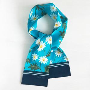 リボンスカーフ「マーガレット( ライトブルー)」(コットン)