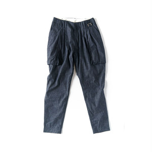 "HUMIS DEFORMATION MILITARY 3-TUCK PANTS  ""DENIM"" / M-PT1402"