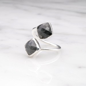 DOUBLE STONE OPEN RING SILVER 027