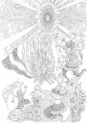 変な塗り絵シリーズ2〈 祈りの舞 〉