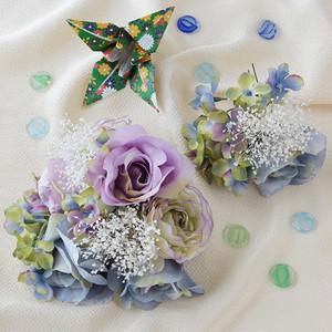 ローズとかすみ草のヘッドドレス8点SET/ブルー・パープル[fc215]結婚式 成人式