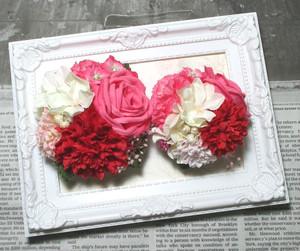 おかあさんといっしょのコサージュ(ピンクローズと紫陽花)