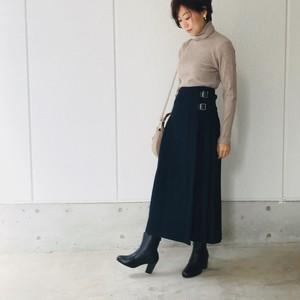 チェックロング巻きプリーツスカート