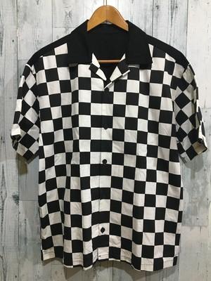 チェッカー柄 オープンカラー 開襟シャツ 市松模様 2トーン 衣装