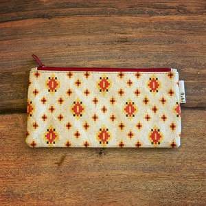 Ashi|亜紙 Flat Pouch M*Cambodia Traditional Design (Red) 紙ポーチ 伝統 カンボジア