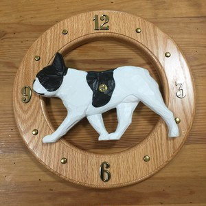 木彫りの丸時計【フレンチブルドッグ パイド】