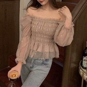 rame tulle off shoulder tops