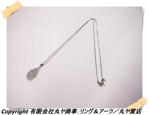Pt900ダイヤモンド入りペンダントトップ付きPt850フリーアジャスター式ネックレス