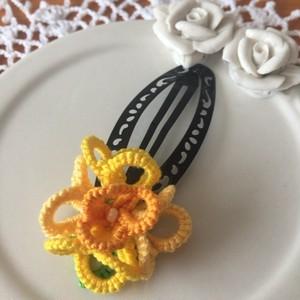 限定品 お花のヘアピン 黄色