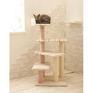 ピンクストライプが可愛い螺旋階段式のキャットタワー/コンパクトねこタワー/おしゃれなデザイン/Mau/リヴィエール