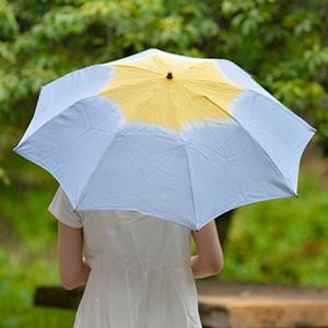 小宮商店×きぬのいえ おりたたみ日傘【薄藍×檸檬】