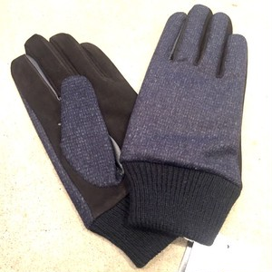Lamb Suede Tweed Glove Navy Tweed×Black