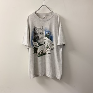 WHITE WOLF プリントTシャツ グレー size L USA製 メンズ 古着