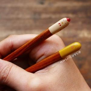 【18cm・子供用】拭き漆の箸(にわとり&ひよこ)/URUSHI CHOPSTICKS(CHICKEN&CHICK)