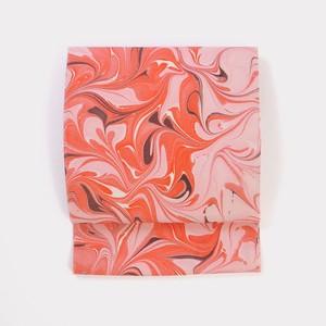 正絹名古屋帯 マーブル 赤×赤銅色《仕立て込み》