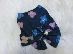【アウトレット】★かわいい犬服ワンピ/ドレス   デニムフラワーベスト