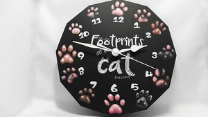 猫の足あと 壁かけ時計