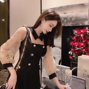 dot see-through collar dress