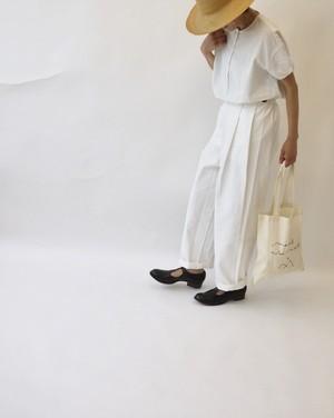 Side button pants/white