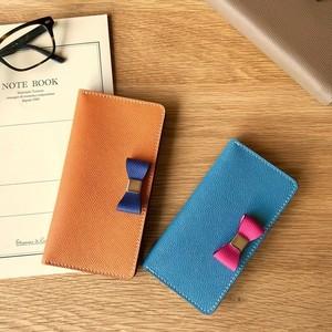 組み合わせ自由 ドイツ型押しカーフ ワープロラックスのリボン付き手帳型iPhoneケース  iPhone全機種より選択可