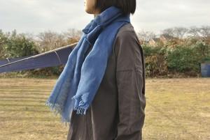 藍染綿麻ストール(200×37cm)/濃・淡