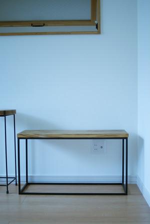 ナラ一枚板 × アイアン ベンチ・台