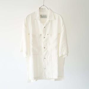 Linen Open Collar Shirt (Natural)