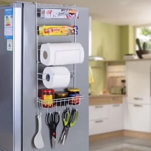 冷蔵庫横ハンガー サイドラック キッチンペーパーホルダー ラップホルダー ラック 収納 省スペース スパイスラック 冷蔵庫横収納 整理整頓 おしゃれ シンプル ホワイト 白 キッチン 台所 便利アイテム 便利グッズ キッチン収納cw-a-3366