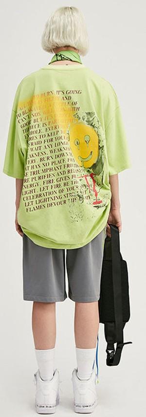 P8287ラウンドペイント  らくがき ラウンドネック Tシャツ