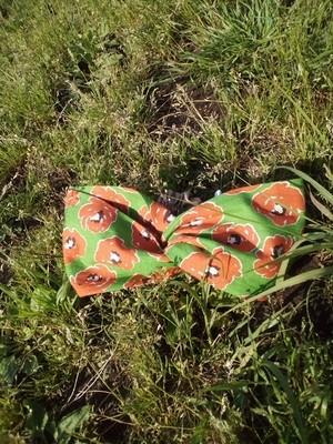 公園ピクニック♪グリーン+オレンジ花柄のヘアターバン