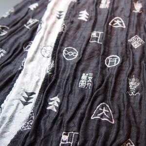 京モノグラムストール 黒×白